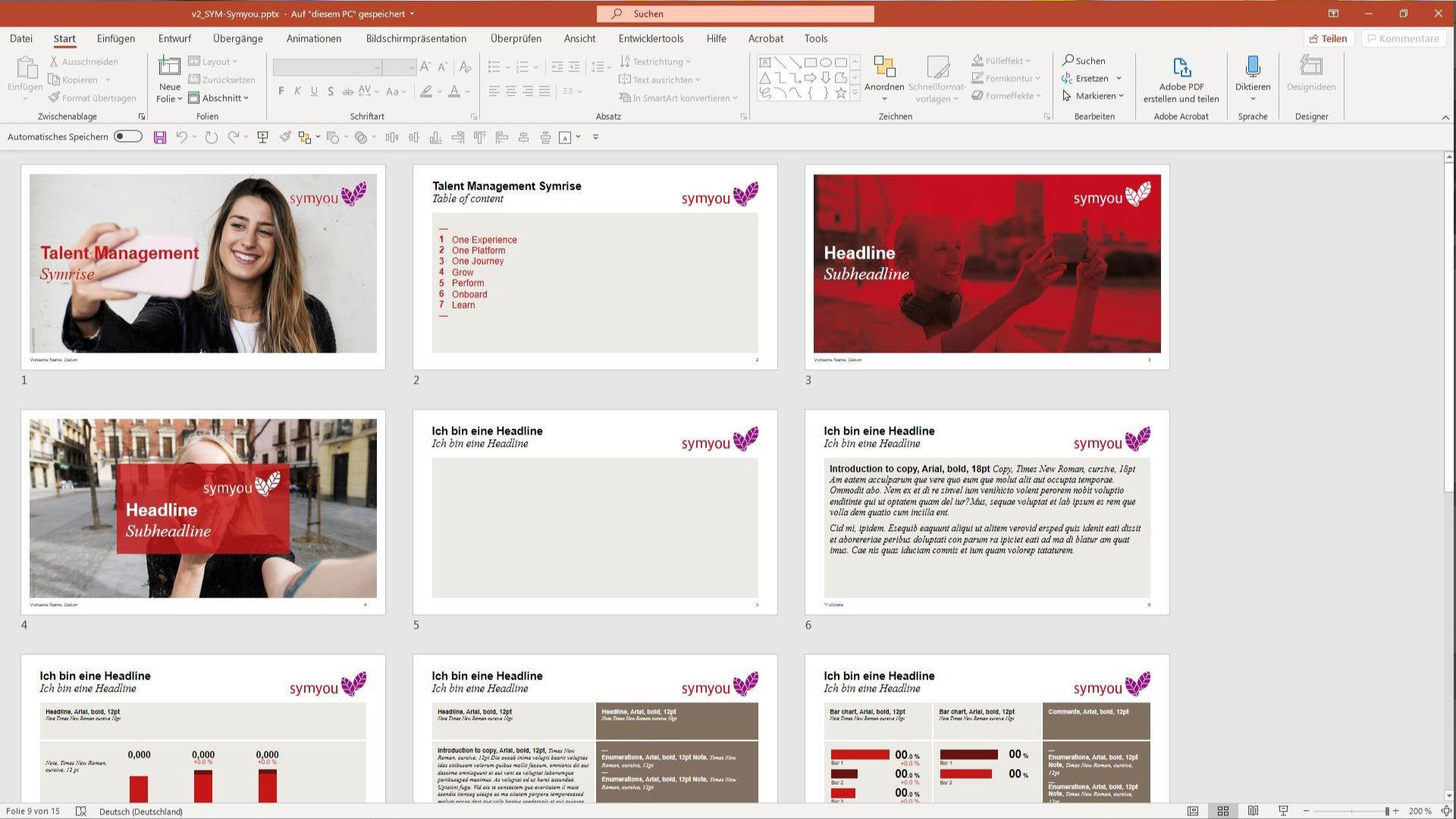 Übertragung einer Präsentation in ein neues Design
